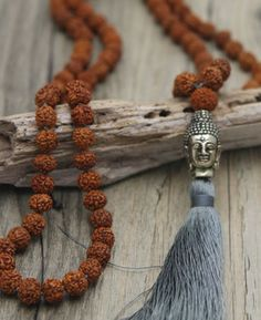 Rudraksha Beads Knotted Mala with Buddha Charm Buddha Jewelry, Hippie Jewelry, Yoga Jewelry, Beaded Jewelry, Skull Jewelry, Tribal Jewelry, Jewellery, Mala Mantra, Do It Yourself Jewelry