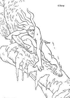 Un joli coloriage de Tarzan sur un arbre. Un dessin parfait qui plaira à tous les enfants fan des dessins animés Disney.