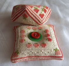 Strawberry biscornu and pincushion | I used the same cross s… | Flickr - Photo Sharing!