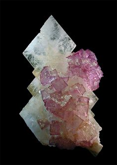 """Celestine, Fluorite Creative Commons Attribution Licence - Some Rights Reserved Locality: Melchor Múzquiz, Mun. de Melchor Múzquiz, Coahuila, Mexico Large fine celestine crystal with fluorite cubes attached, 18.0 x 9.8 x 3.2 cm., Muzquiz, Coahuila, Mexico. Minor """"puffballs"""" of strontianite on the fluorite."""