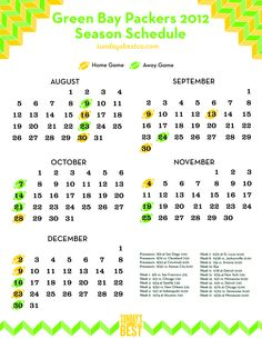 Green Bay Packers 2012 Schedule - Pinterest Style