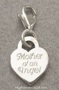 This sweet sterling silver heart charm is engraved in Cursive Font with your choice of sayings: ~Mother of an Angel ~Mommy of an Angel ~Mother of Angels ~Mommy of Angels ~Grandma of an Angel ~Grandma