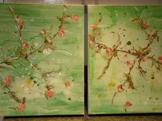 'spring fever'  (2) 24 x 20 canvases www.lizahathawaymatthews.com #available #art #interior #design