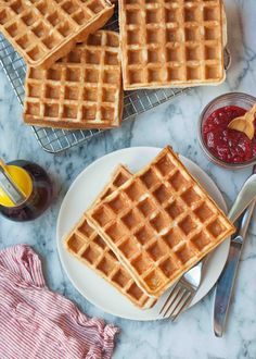 Classic Buttermilk Waffles ~ Classic Buttermilk Waffles! Light and crispy outside, tender in the middle. No mixer required. ~ SimplyRecipes.com