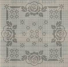 Kira scheme crochet: The square napkin with roses Crochet Men, Crochet Lace Edging, Crochet Motifs, Vintage Crochet, Crochet Doilies, Crochet Stitches, Crochet Patterns, Crochet Table Runner, Crochet Tablecloth