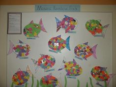 "One KinderCare Center hosted a student art show -- here is the art exhibit honoring the book ""The Rainbow Fish"" by Marcus Pfister. #kidlit #preschool #literacy #kindergarten #kids #preschool #PreK #children #read #book #library"