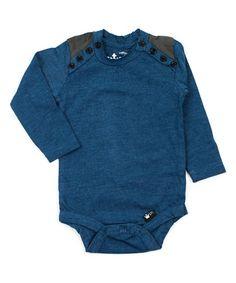 f9948b63e04d Littlest Prince Couture Navy   Gray Contrast-Shoulder Bodysuit - Infant
