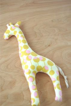giraffe stuffed toy pink and mustard by babydarling on Etsy, $16.00