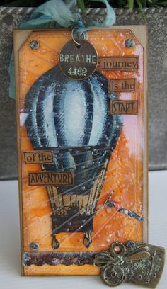Great way of recycling package. Diy Hot Air Balloons, Travel Crafts, Space Crafts, Craft Space, Paper Tags, Scrapbook Embellishments, Steampunk Diy, Artist Trading Cards, Tag Art