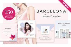 Barcelona - 150 Social Media Designs by NordWood on @creativemarket
