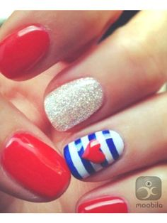 Three of my favorite nail trends: bling, nautical stripes, and cute accents! ❤