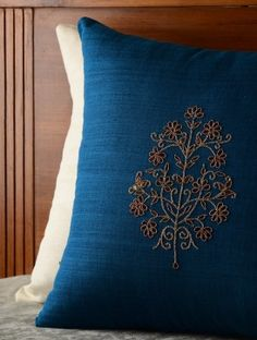 Blue Floral Gota Patti Cushion Cover - 16in x 16in