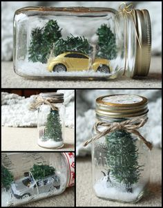 Christmas Mason Jars    Inspiration from: http://poppytalk.blogspot.ca/2012/12/weekend-project-winter-scene-mason-jars.html