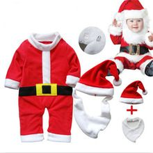 2016 baby clothing set boys girls Santa Claus modelling set 3pcs red fleece romper+hat+bib suit Christmas baby costume(China (Mainland))