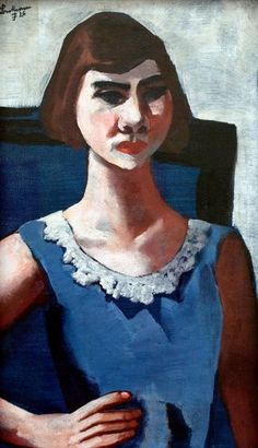"""""""Quappi in Blue,"""" from 1926, is one of the six Max Beckmann paintings in question."""