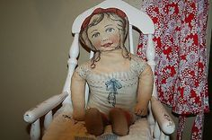 "1913 Antique Vintage Old Art Fabric Mills Cloth Rag Doll Girl 23"" Fabulous Condition"
