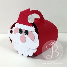 Stampin' Up! Curvy Keepsakes Box with punch art Santa Face using punches and mustache framelit.