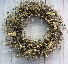 Faith Family Friends   Ivory Pip Berry Wreath  by Designawreath