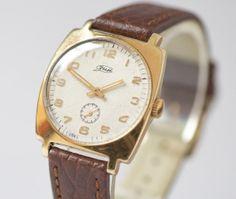 Elegant men's watch ZIM wrist watch gold plated gents by SovietEra, $97.00