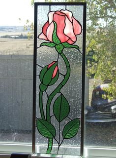 Stained Glass Rose with Rosebud Window by LadybugStainedGlass