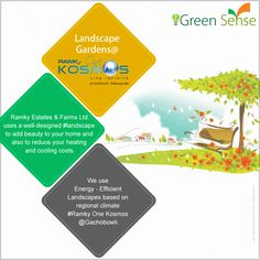 #GreenSense.  #Ramky Estates & Farms Ltd. uses a well-designed #landscape to add beauty to your home and also to reduce your heating and cooling costs. We use energy-efficient landscapes based on regional climate @RamkyOneKosmos at #Gachobowli. For More Info Visit - www.ramkyonekosmos.com