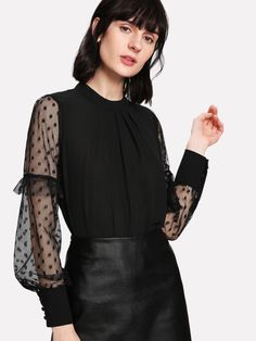 SheIn offers Sheer Mesh Sleeve Polka Dot Top & more to fit your fashionable needs. Vivi Fashion, Korean Girl Fashion, Young Fashion, Fashion Outfits, Blouse Styles, Blouse Designs, Trendy Outfits, Classy Outfits, Merian