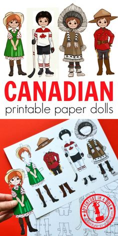 For studying a unit on Canada or celebrating Canada Day with a craft, make these printable Canadian dress-up paper dolls! Four Canadian costumes include Anne of Green Gables, a hockey player, an Inuit, and a Mountie. Creative Activities For Kids, Projects For Kids, Creative Kids, Crafts For Kids, Canadian Costume, Canada For Kids, Canada Day Crafts, Canada Day Party, Writing Prompts For Kids