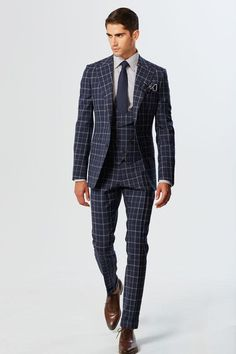 Navy & Grey Double Windowpane Summer Wool Peak Lapel With MF 6-Button Shawl Lapel V-Waisted Vest 3-Piece Suit
