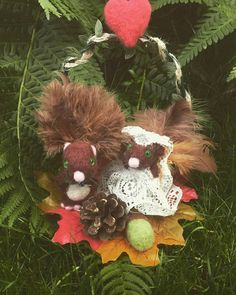 wedding cake topper rustic needle felted squirrels perfect for
