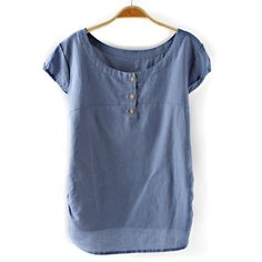 Casual Style Scoop Collar Short Sleeve Solid Color Linen Women's T-Shirt