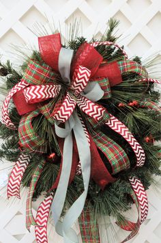 Christmas Wreath, Holiday Wreath, Wreath with multi-bow by HeatherKnollDesigns on Etsy