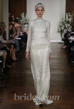 Brides.com: Jenny Packham - 2013. Long sleeve silver beaded sheath wedding dress with high neckline, Jenny Packham  See more Jenny Packham wedding dresses in our gallery.