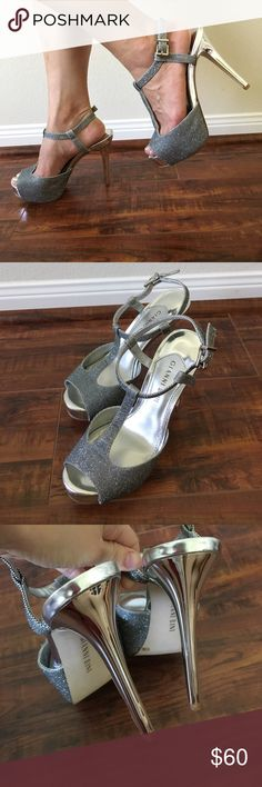 "Gianni Bini Silver High Heels Worn only once in like new condition! 4.75"" high. ❌No trade Gianni Bini Shoes Heels"