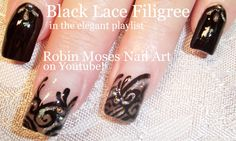 #lace #nailart #nails #spring #spring2015 #black #black #lace #filigree #frenchmanicure #bling