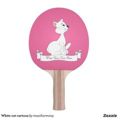 White cat cartoon ping pong paddle