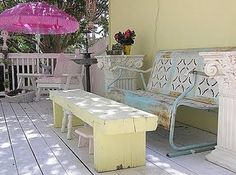 I would love to have a bench/coffee table with little stools to go under it!