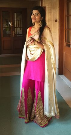 Trousseau Essentials - Pink and Orange Sharara | WedMeGood | Pink and Orange Kurti with Pink Sharara with Gotta Work and Beige Dupatta  #wedmegood #sharara #trouseauessentials #trousseau #pink #indianbride #indianwedding