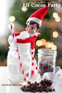 30 Easy and Fun Elf on the Shelf Ideas Elf Cocoa Party. Bring your little Elf on the Shelf to a coco Christmas Elf, Christmas 2019, Family Christmas, Christmas Crafts, Christmas Ideas, Christmas Decorations, Christmas Stuff, Christmas Cupcakes, Xmas Ornaments