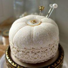 Miniature Pincushion, Ivory Lace.