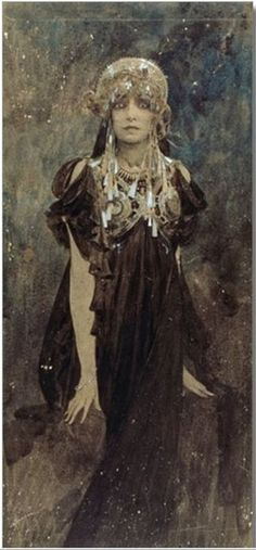 Alphonse Mucha's painting of Sarah Bernhardt, 1923.  So different than others he painted of her.