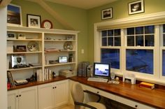 Farmhouse cottage office study with green walls, white cabinetry and built-in bookcase by ronbrennerarchitects.com #houzz #office #built_in_bookcase #white_cabinets