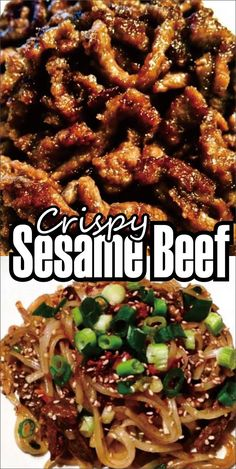 Crispy Sesame Beef One of my competitor things around cookery Asian-inspired food is a lot of the dishes I revel are gluten unrestrained and farm discharge. Especially when you use liquefiable aminos in square of soy sauce (most grocery fund soy sauce con Kraft Foods, Kraft Recipes, Easy Asian Recipes, Sliced Beef Recipes, Chinese Beef Recipes, Chicken Recipes, Crispy Beef Chinese, Chinese Food, Beef Pieces Recipes