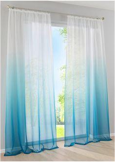 Jetzt anschauen: Gardine mit wunderschönem Farbverlauf von unten nach oben, aus transparenter Voile Qualität, in vier wohnlichen Trendfarben erhältlich.