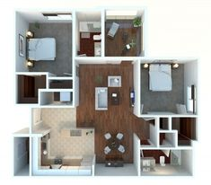 """2 Bedroom Apartments 50 two """"2"""" bedroom apartment/house plans 