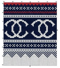 A Coco Chanel Marius, alos from Uten en tråd (www. Tapestry Crochet Patterns, Bead Loom Patterns, Peyote Patterns, Craft Patterns, Cross Stitch Patterns, Intarsia Knitting, Knitting Charts, Knitting Patterns, Embroidery Alphabet