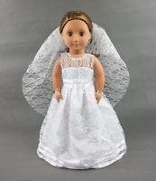 White Wedding Gown With Veil Dress For 18''American Girl Doll Clothes Girl Gifts