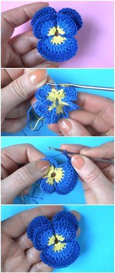 Learn To Crochet Pansy Flowers Beau Crochet, Crochet Mignon, Crochet Diy, Learn To Crochet, Crochet Motif, Crochet Crafts, Yarn Crafts, Crochet Stitches, Crochet Projects