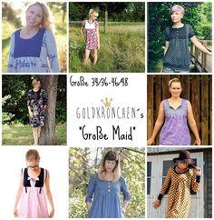 Große Maid Ebook, Shirt/ Kleid Gr.34/36-46/48 - Nähanleitungen bei Makerist