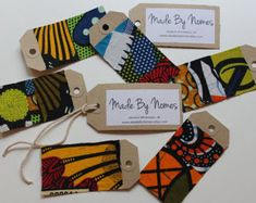 Items similar to 10 African Wax Print Kraft Swing tags / Gift Tags / Name Tags / Table Place names on Etsy Patchwork Fabric, Fabric Art, African Theme, African Attire, African Style, African Dress, Create Labels, African Accessories, Accessories Shop