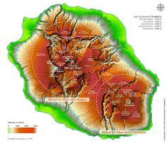 Carte des montagnes et sommets de La Réunion